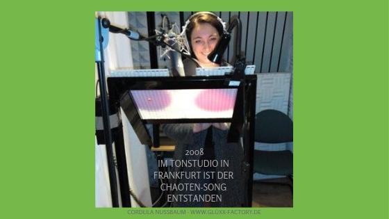 2008 Im Tonstudio in Frankfurt: der Kreative-Chaoten-Song entsteht