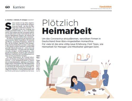 "Handelsblatt: ""So gelingt Neulingen das Arbeiten im Homeoffice"""
